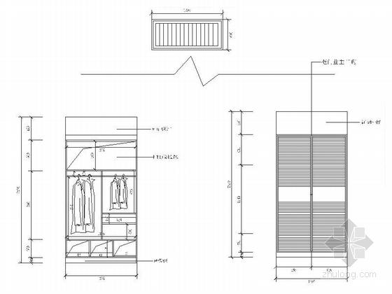 精品浪漫法式风格三居室室内装修施工图(含效果)次卧衣柜立面图