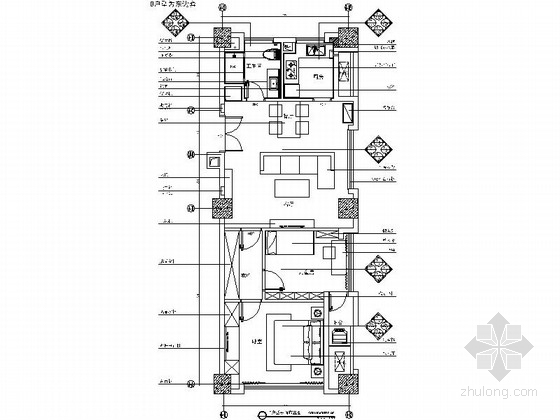 [上海]公寓区现代时尚两居室CAD室内装修施工图