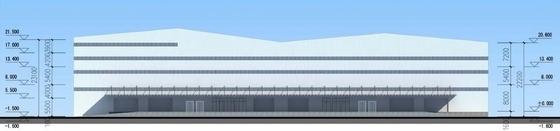 [福建]现代风格金属板外墙普通物流仓库建筑设计方案文本-现代风格金属板外墙普通物流仓库建筑立面图