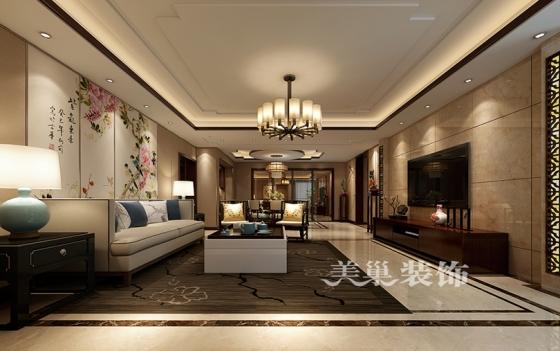 客餐厅全景布局瀚海晴宇5室3厅装修效果图233平户型新中式风格案