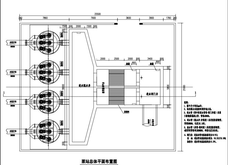 最全的一体化雨水提升泵站设计施工图纸4套并联