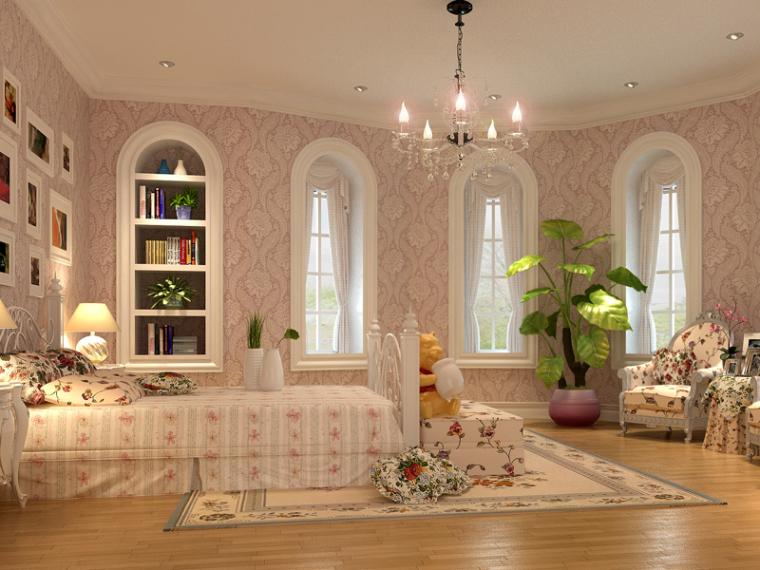 女孩欧式卧室3D模型下载