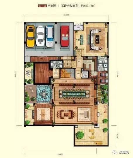 万科罕见的270㎡5房6卫双拼户型,庭院高达228㎡_24
