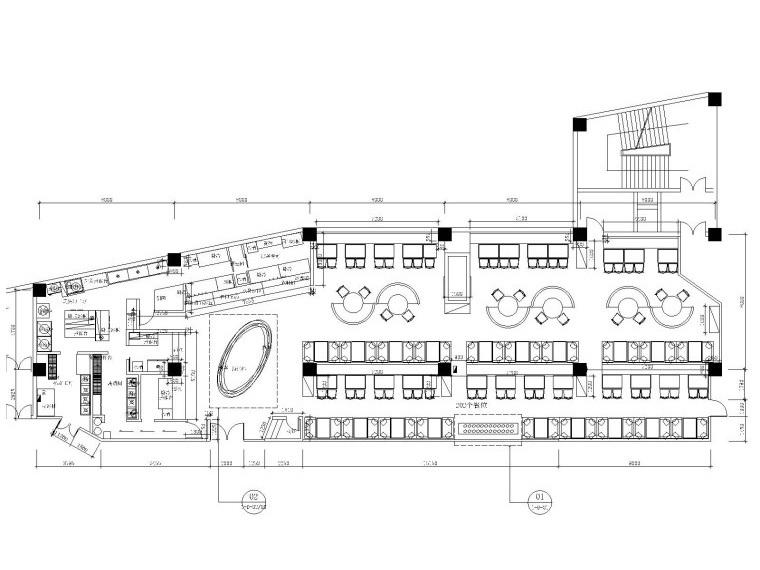 海底捞火锅店内部装修施工图设计(附效果图)