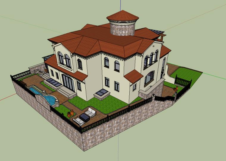 欧式庭院别墅精品SU模型