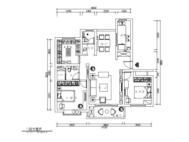 简约风格样板房CAD施工图(含效果图)平面图