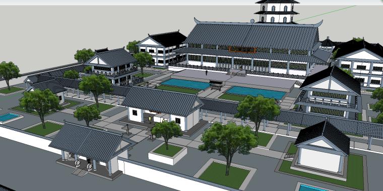 寺庙园林建筑模型(SU模型)-3