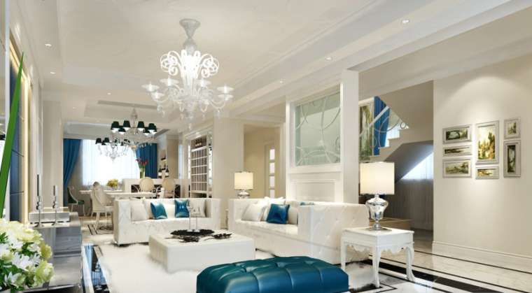 【山西】美式风格跃层公寓设计CAD施工图(含效果图)_7