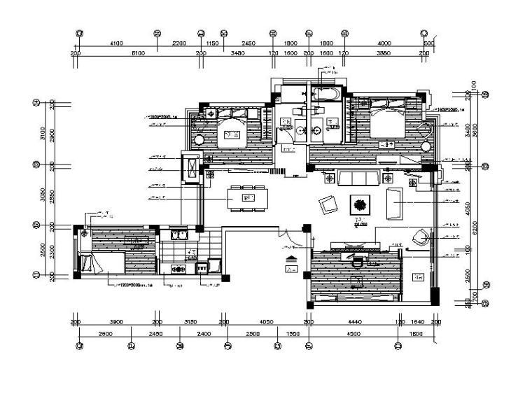 [福建]现代简约风格样板房整套CAD施工图(含实景图)