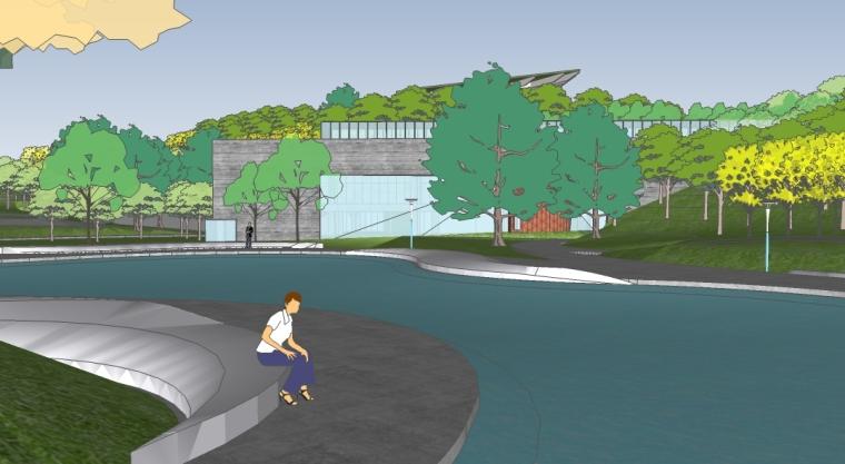 unity运动场模型资料下载-麓湖公园运动湿地场地SU模型(一)