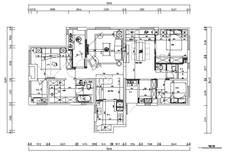 【湖北】现代偏港式样板房设计施工图(附效果图)_4