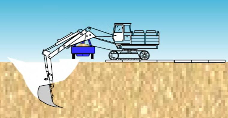 反铲挖土流程施工演示_2