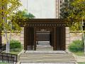 西府大院居住区小区景观SU模型亿客隆彩票网址(新中式风格)