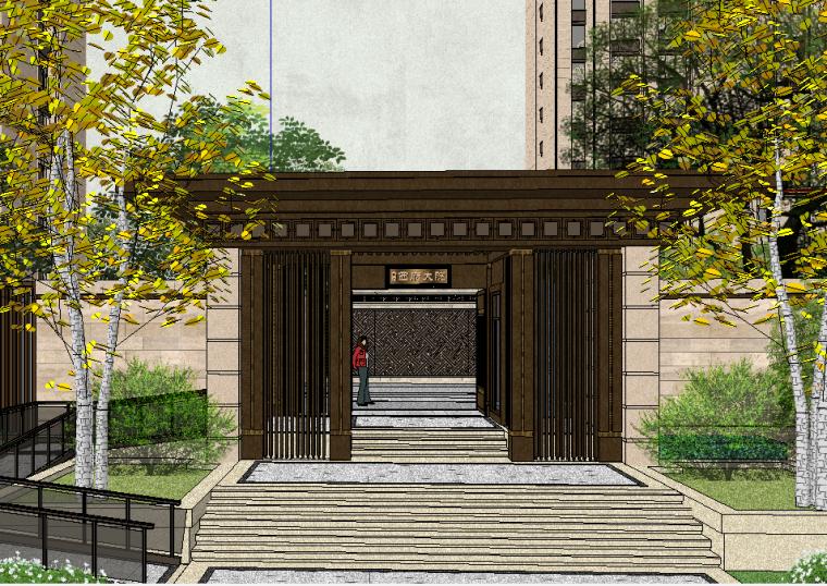 西府大院居住区小区景观SU模型设计(新中式风格)