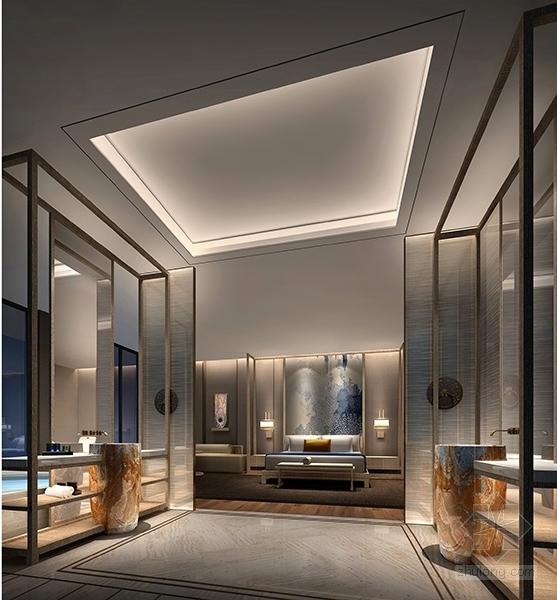 [北京]简约中式艺术酒店室内设计概念方案-[北京]简约中式风格艺术酒店室内设计概念方案客房卫生间概念