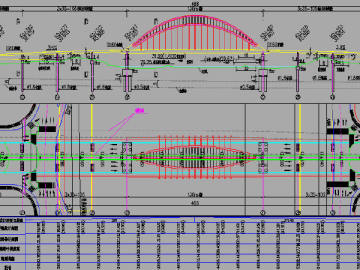 136m下承式拱桥主桥及2x35+30m现浇连续箱梁引桥跨河大桥设计图纸250张CAD