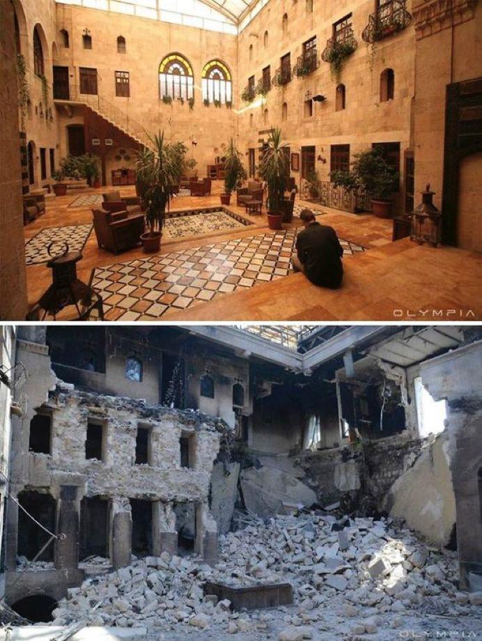 叙利亚战争后的城市建筑对比,满地废墟浓烟弥漫_4