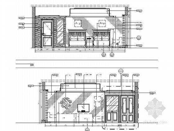 [苏州]社区型中心高档酒店客房装修施工图(含效果)标准客房立面图