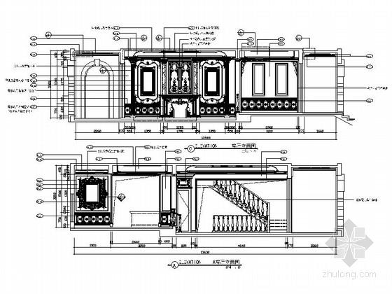 精品豪华欧式风格三层别墅室内装修施工图(含方案效果图)客厅立面图