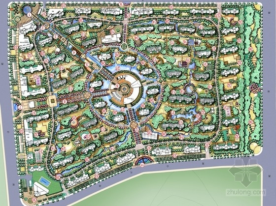 [山东]山水泉城现代主义风格豪华居住区景观设计方案
