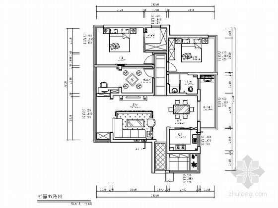 [湖南]经济开发区现代混搭风格三居室装修施工图(含效果)