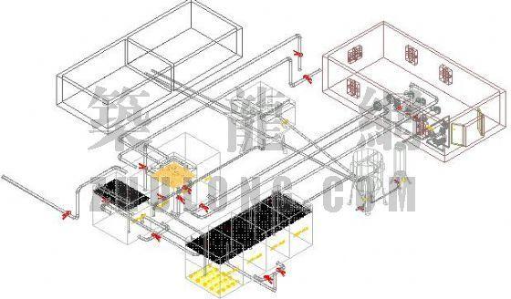 某屠宰场废水处理工艺流程三维立体图