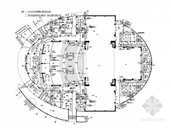 [陕西]剧场剧院建筑空调通风系统设计施工图(座椅送风 顶回风)