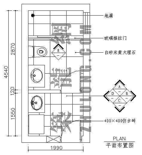 卫生间平面图4