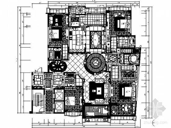 400㎡欧式新古典豪华大户四居室样板房施工图(含实景)