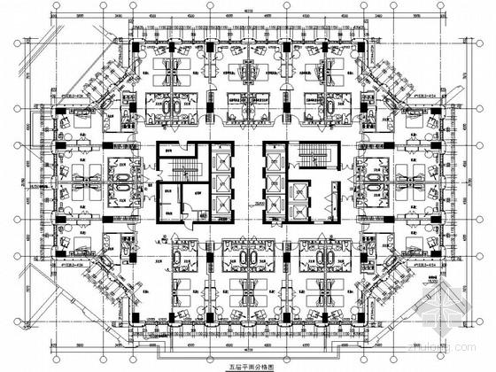 [浙江]36层框架核心筒结构五星级酒店幕墙施工图(附楼五层)