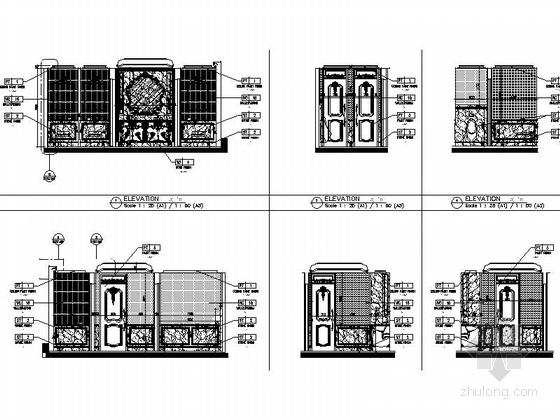 [南通]白金五星级酒店奢华欧式法国厅贵宾室CAD装修图卫生间立面图
