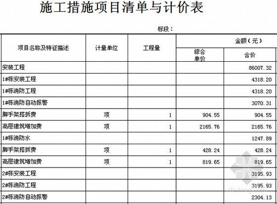 [全套]湖南保障房项目消防工程量清单控制价编制实例(含招标文件施工图纸300张标底)-施工措施项目清单与计价表