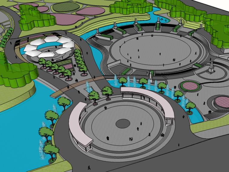 大气现代生态滨湖公园景观su模型