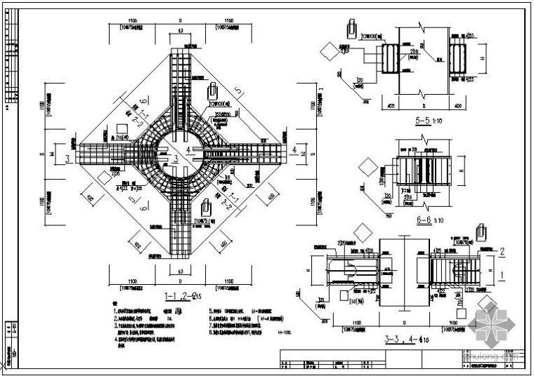 某钢管混凝土柱C型梁柱节点配筋和钢结构大样(图集)节点构造详图