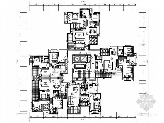 某高层一梯五住宅户型平面图(120、100、80平方米)