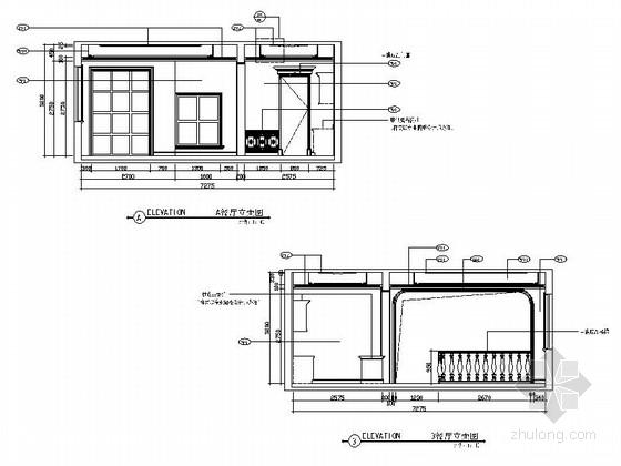 精品豪华欧式风格三层别墅室内装修施工图(含方案效果图)餐厅立面图