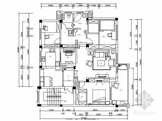 豪华欧式田园风格三居室样板间室内装修施工图(含效果)