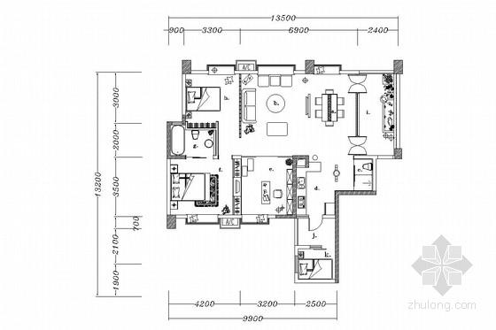 中式两居室室内装修施工图(含效果图)