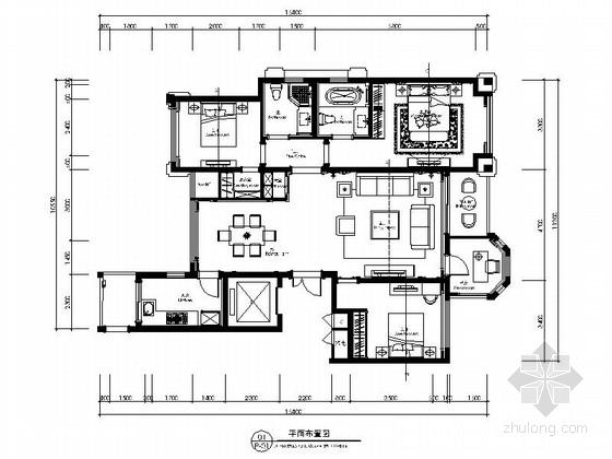 [河北]精品豪华欧式风格三居室室内装修施工图(含效果)