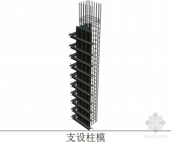 方柱模板支撑加固施工流程(三维效果图)