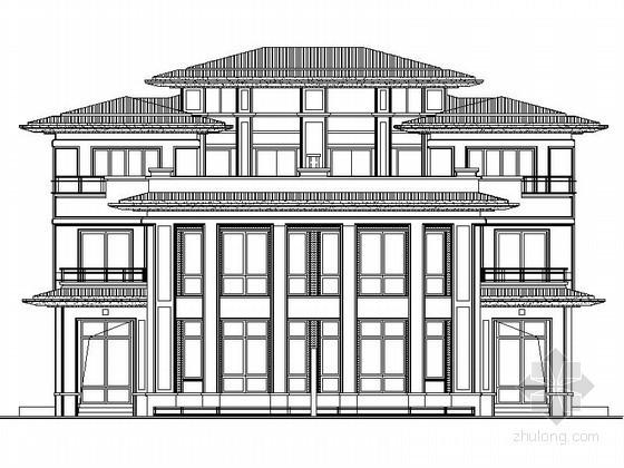 [扬州]某国际花园三层简欧式双拼别墅施工图(16号楼)