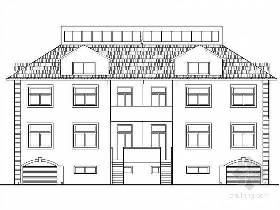 某三层欧式双拼别墅建筑扩初图