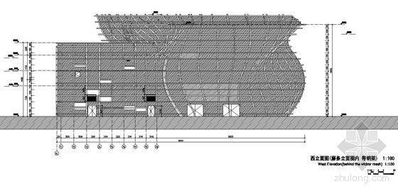 [上海世博会]西班牙馆建筑施工图-西立面图