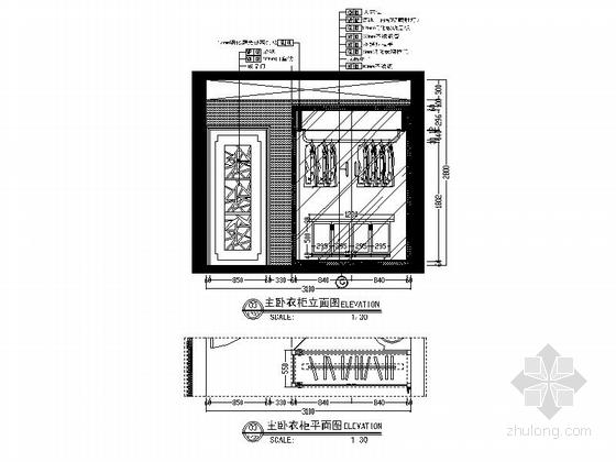 [广州]地知名地产风格两居室样板房室内设计施工图(含效果图) 立面图