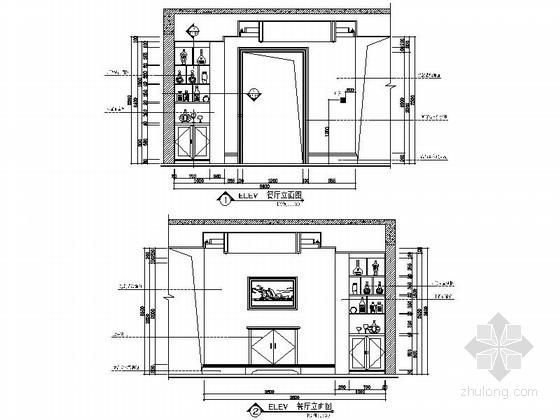 [安徽]奢派港湾小区简欧三居室样板房装修施工图餐厅立面图