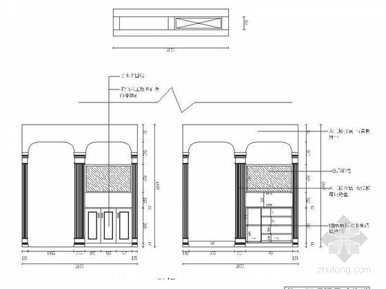 精品浪漫法式风格三居室室内装修施工图(含效果)鞋柜立面图