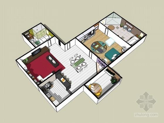 现代简约室内家居设计方案sketchup模型
