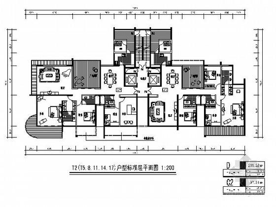 [北京]某高层二梯二住宅楼户型图(200平方米)