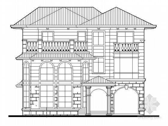 某三层欧式别墅建筑方案图(南入口)