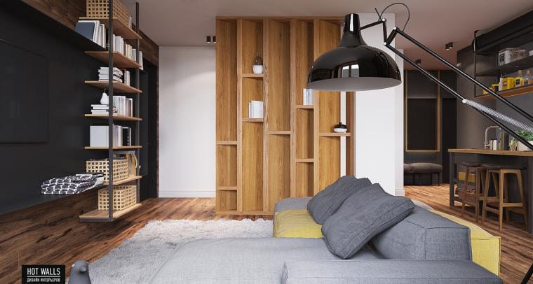 俄罗斯:木质与黑色调营造温暖酷炫的居家氛围_6